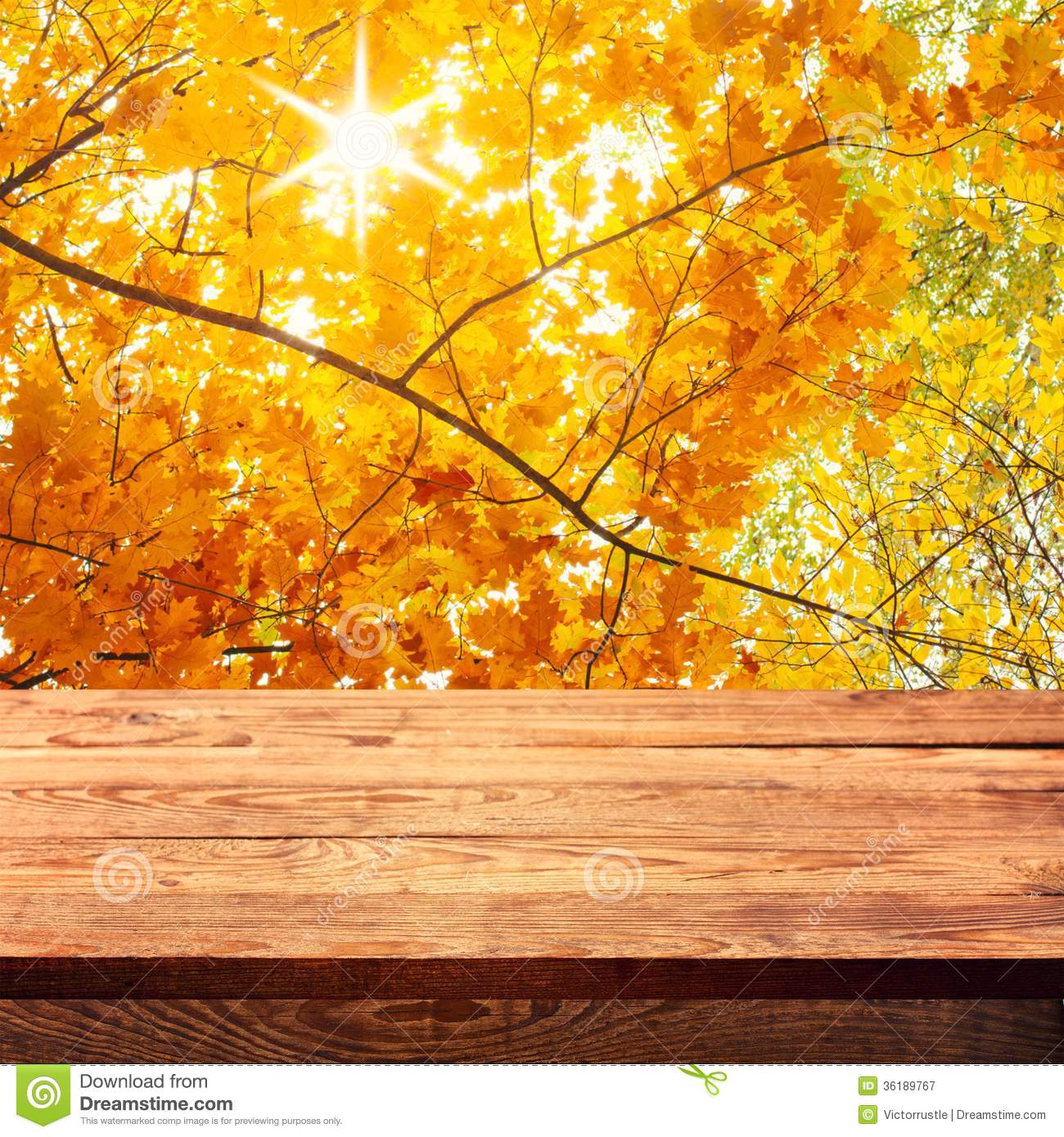 Fall Wooden Wallpaper Empty Wooden Deck Table With Tablecloth Stock Image