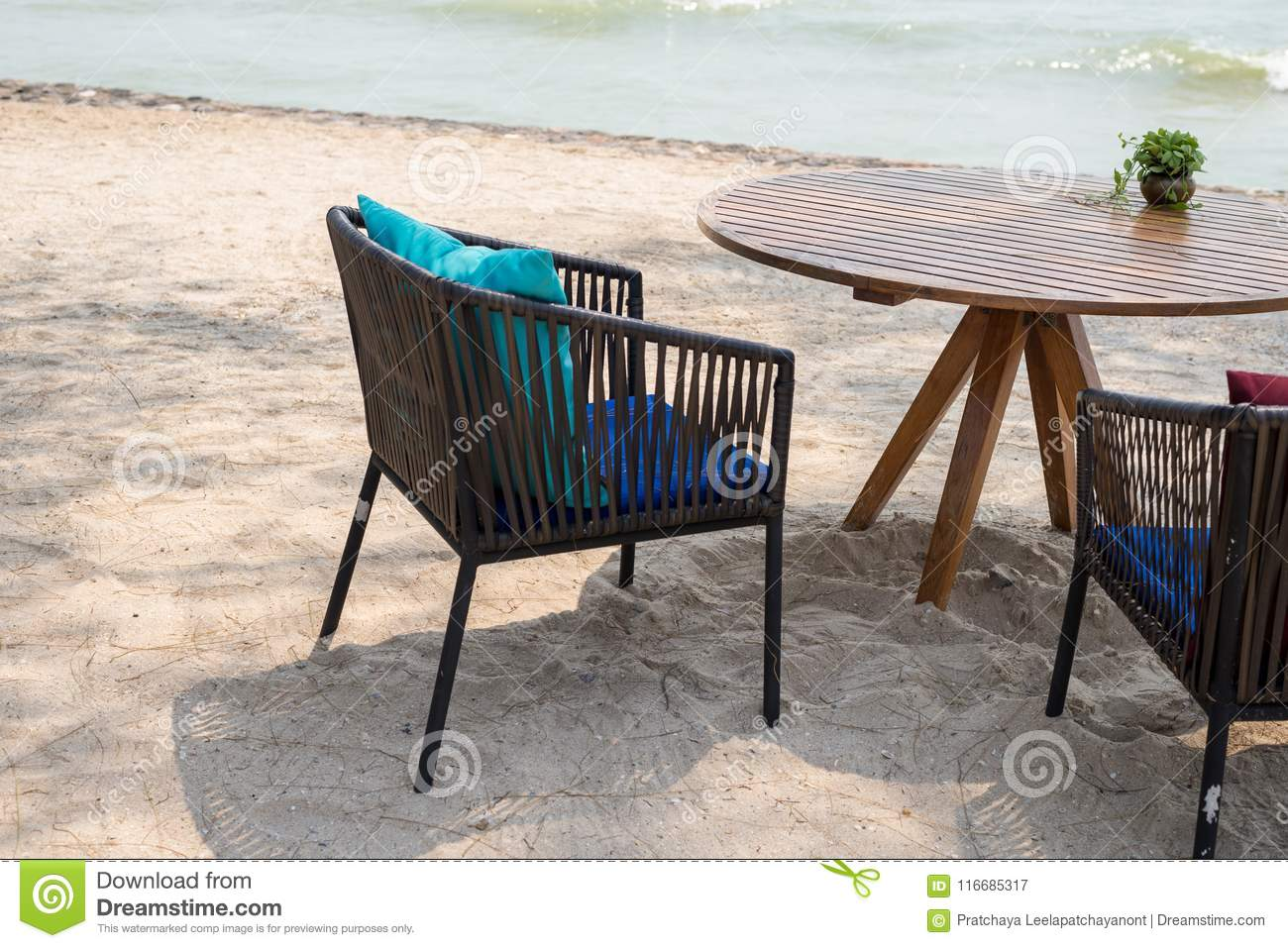 Table With Two Chairs Wooden Table With Two Chairs At Beach Restaurant Stock Image