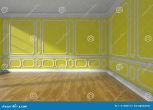 empty yellow molding parquet floor walls