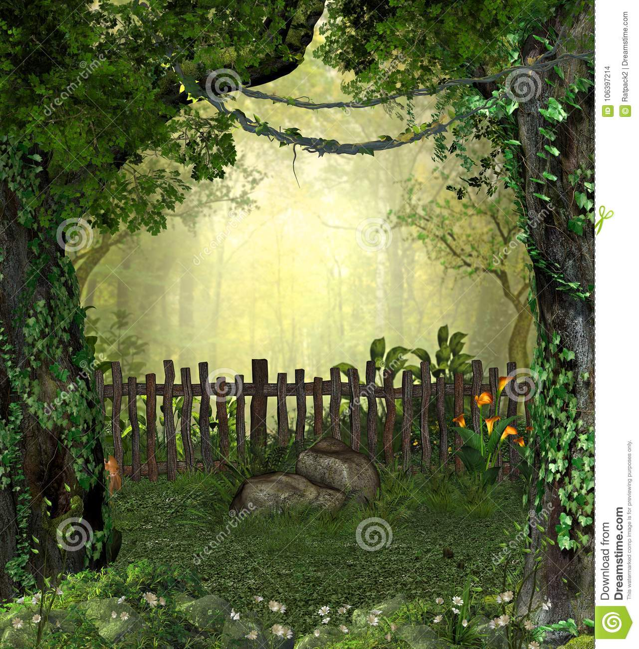 Enchanting Magical Fairy Garden In The Woods Stock Illustration Illustration Of Lights Toadstool 106397214