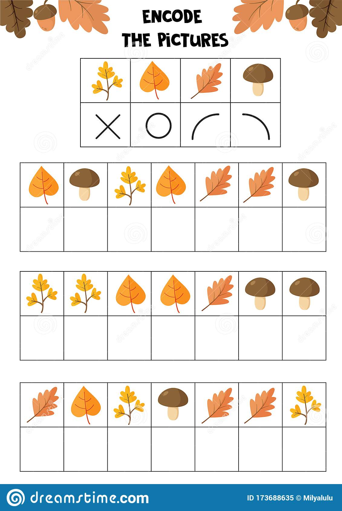 Encode The Picture Autumn Set Educational Worksheet For