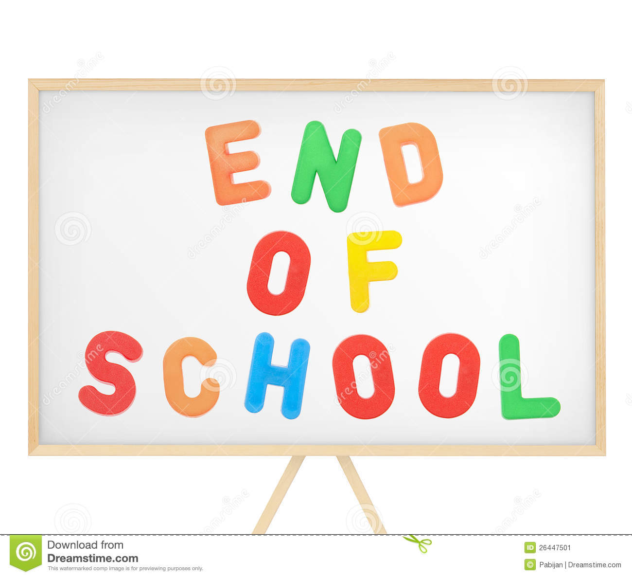 End Od School Sign On Magnetic Board Stock Image