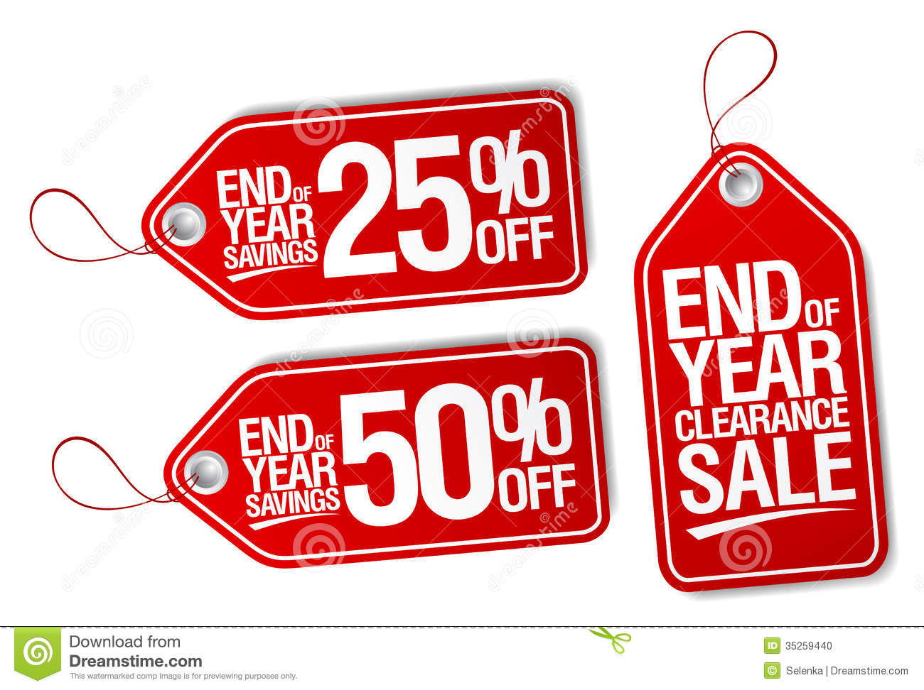 End Of Year Savings Labels Set Stock Photo Image 35259440
