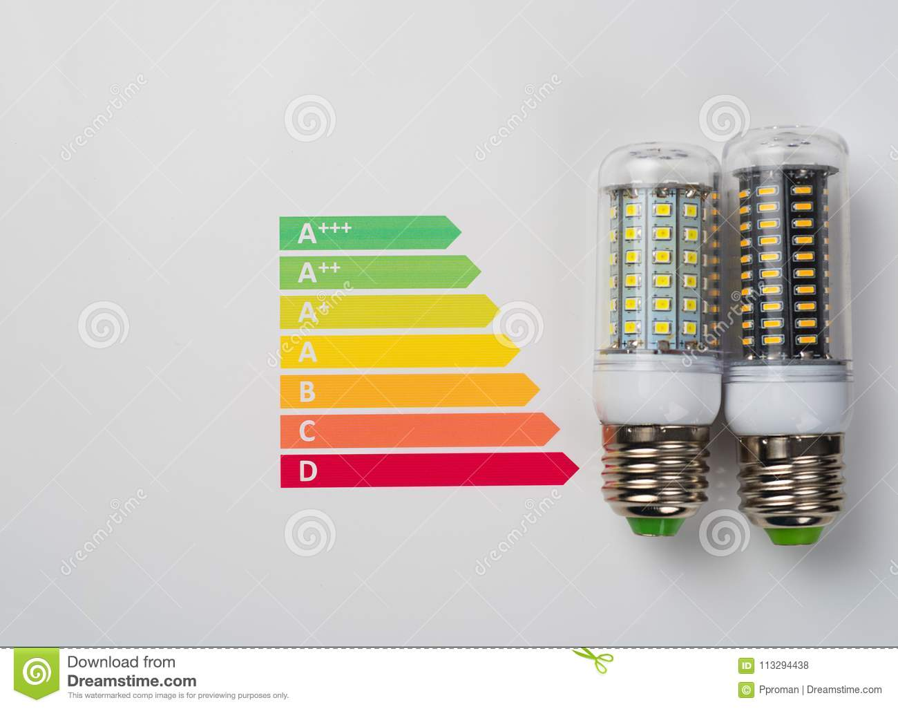hight resolution of energy efficiency concept with energy rating chart and led lamp