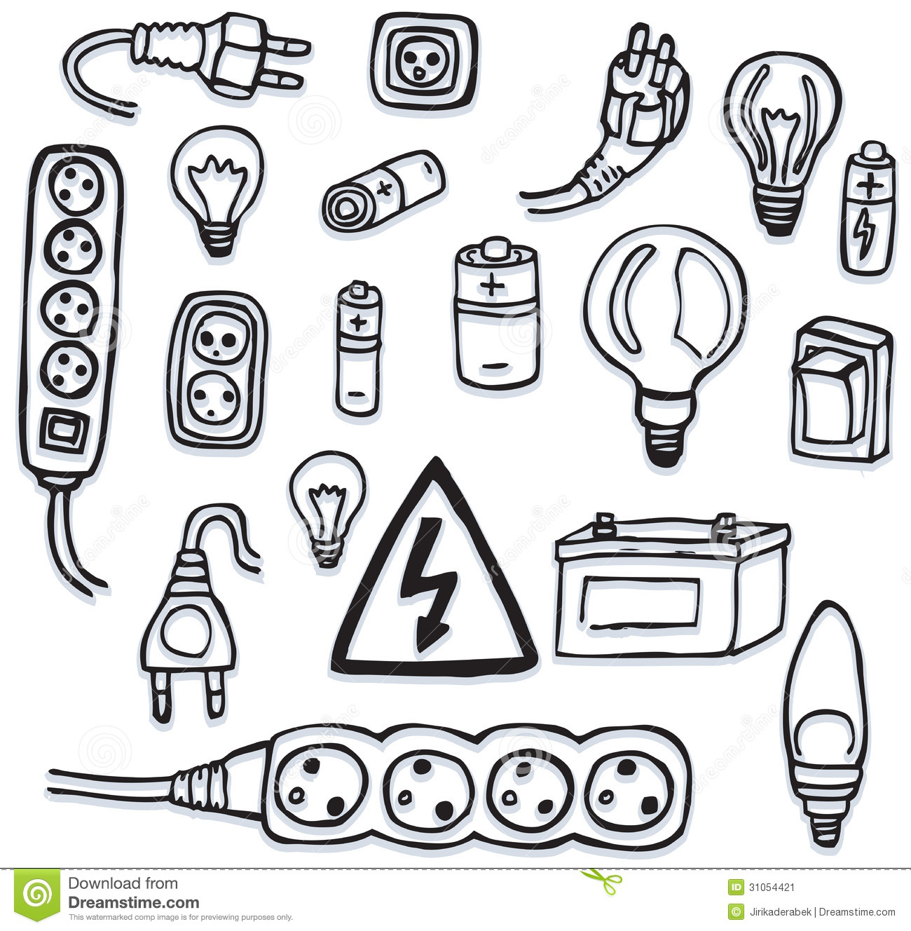 Energy And Electric Icons Stock Vector Illustration Of