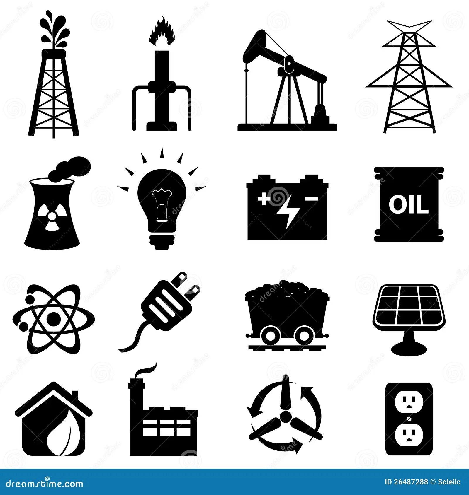 Energy Icon Set Stock Vector Illustration Of Coal