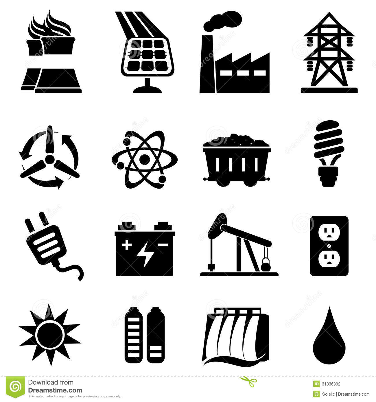 Energy Icon Set Stock Vector Illustration Of Industry