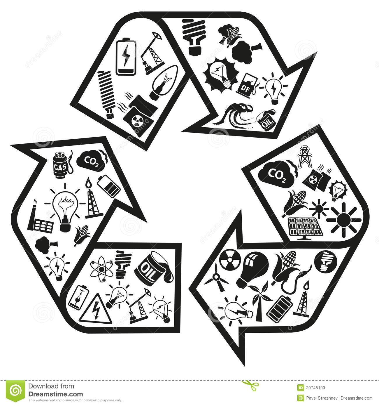 Energy And Resource Icons In Recycle Arrow Stock Photo
