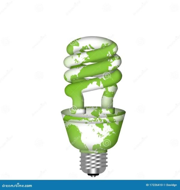 Energy Saving Eco Lightbulb With World Map Stock