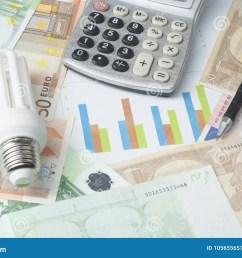 energy saving lamp chart and calculator on money background energy saving saving electricity concept [ 1300 x 957 Pixel ]