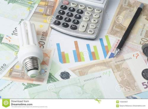 small resolution of energy saving lamp chart and calculator on money background energy saving saving electricity concept