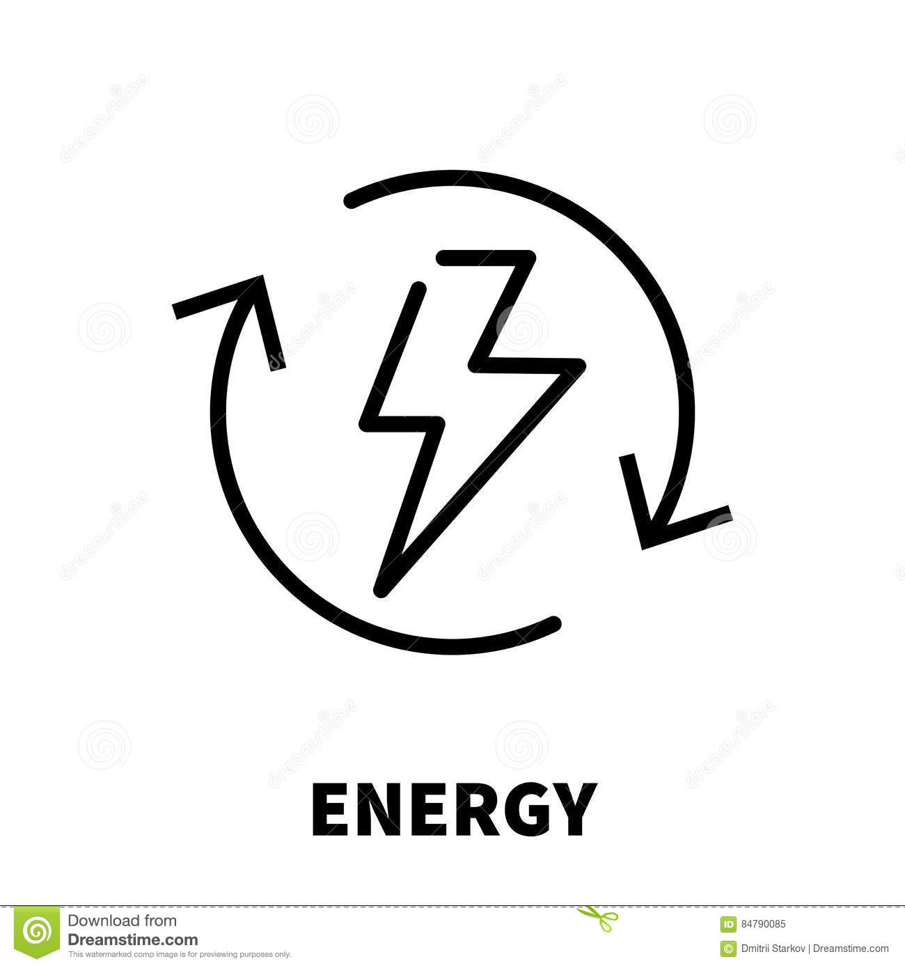 Energy Thinking Icon Or Logo In Modern Line Style. Stock