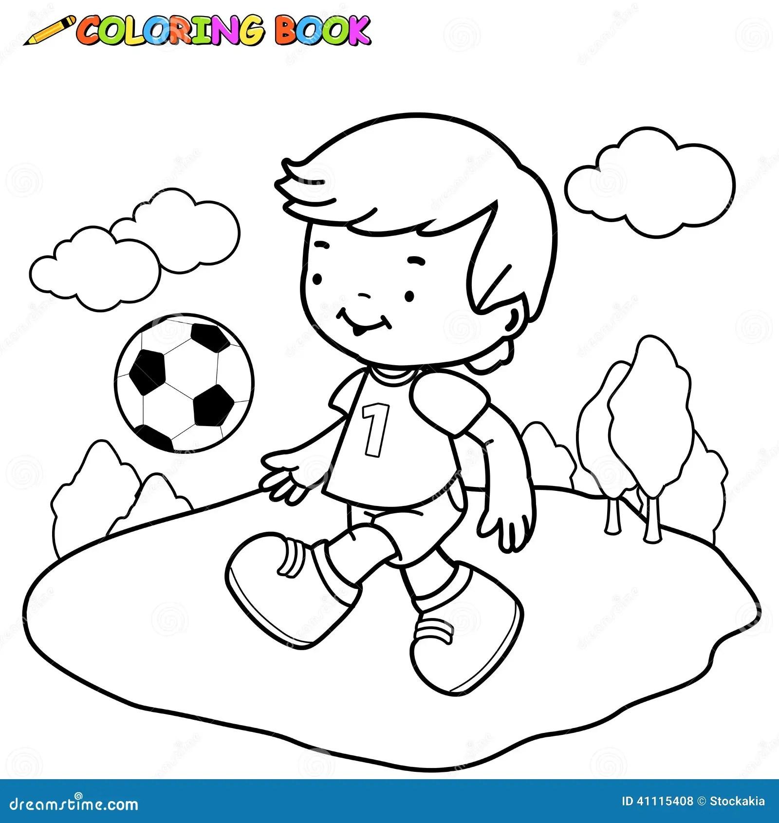 Enfant Du Football De Livre De Coloriage Illustration de