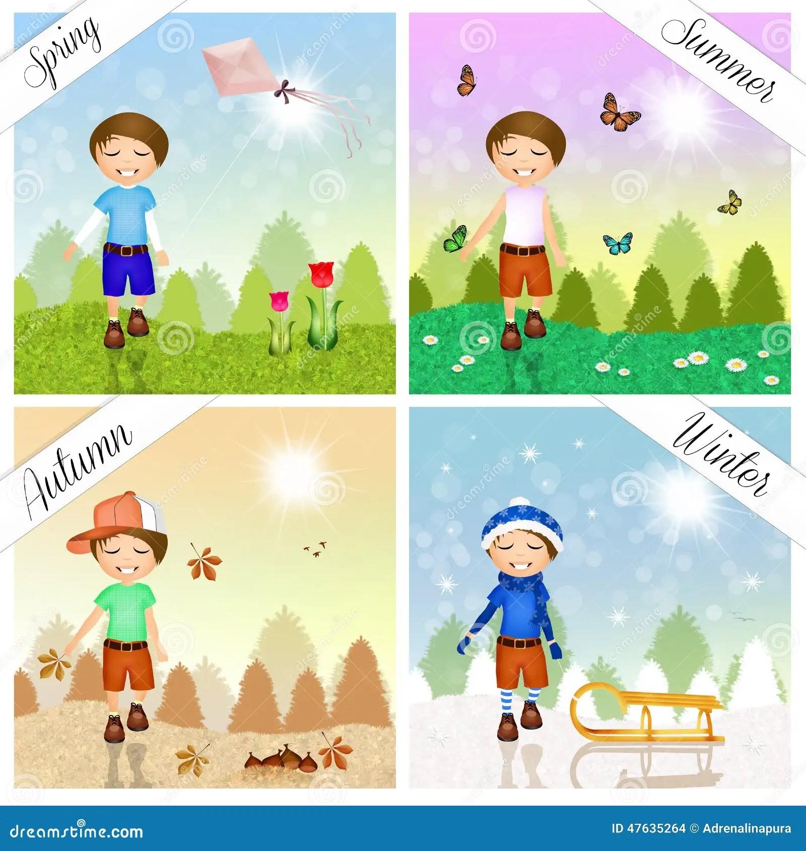 Enfant Pendant Les Quatre Saisons Illustration Stock