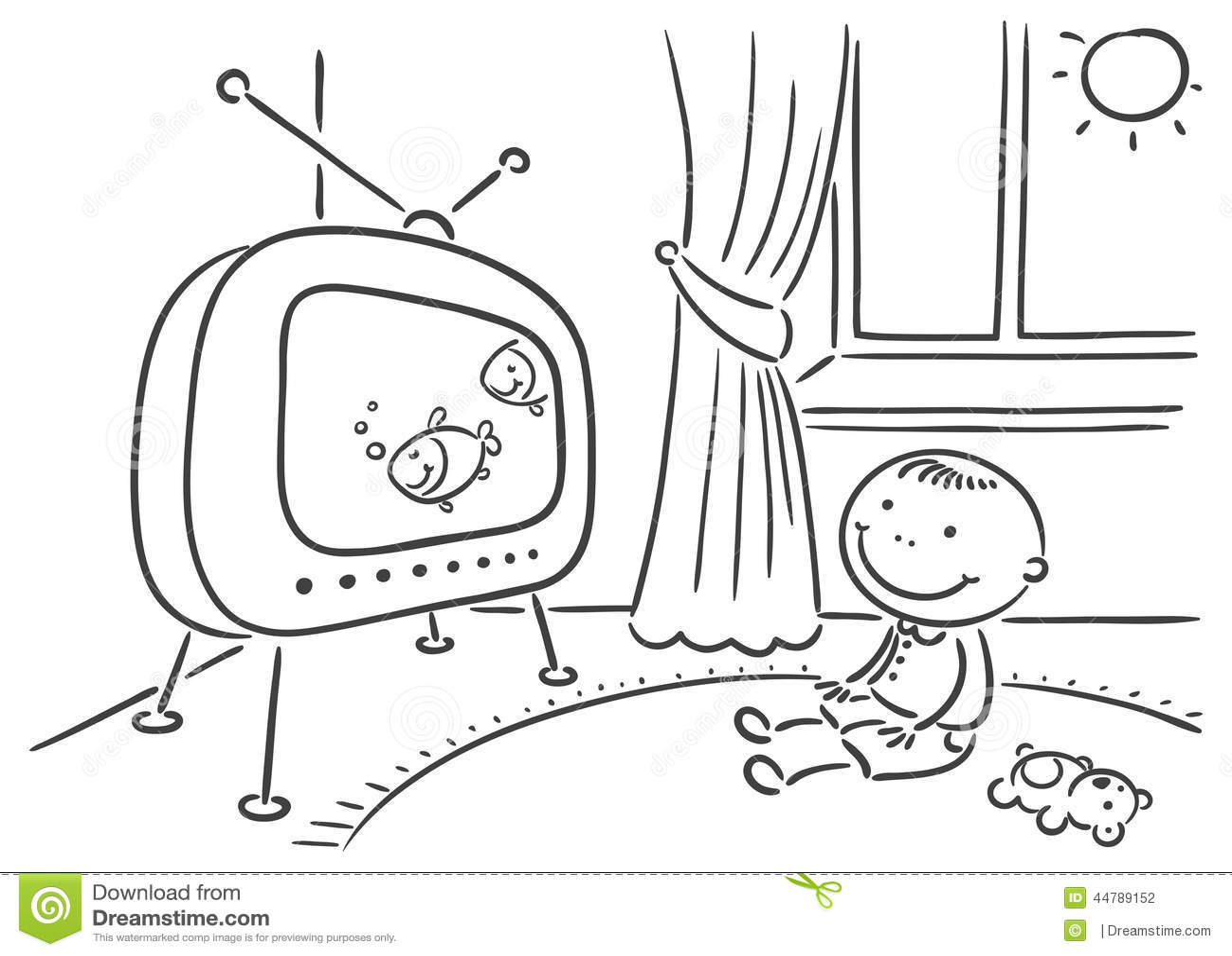 Enfant Regardant La TV Dans Sa Chambre Illustration de