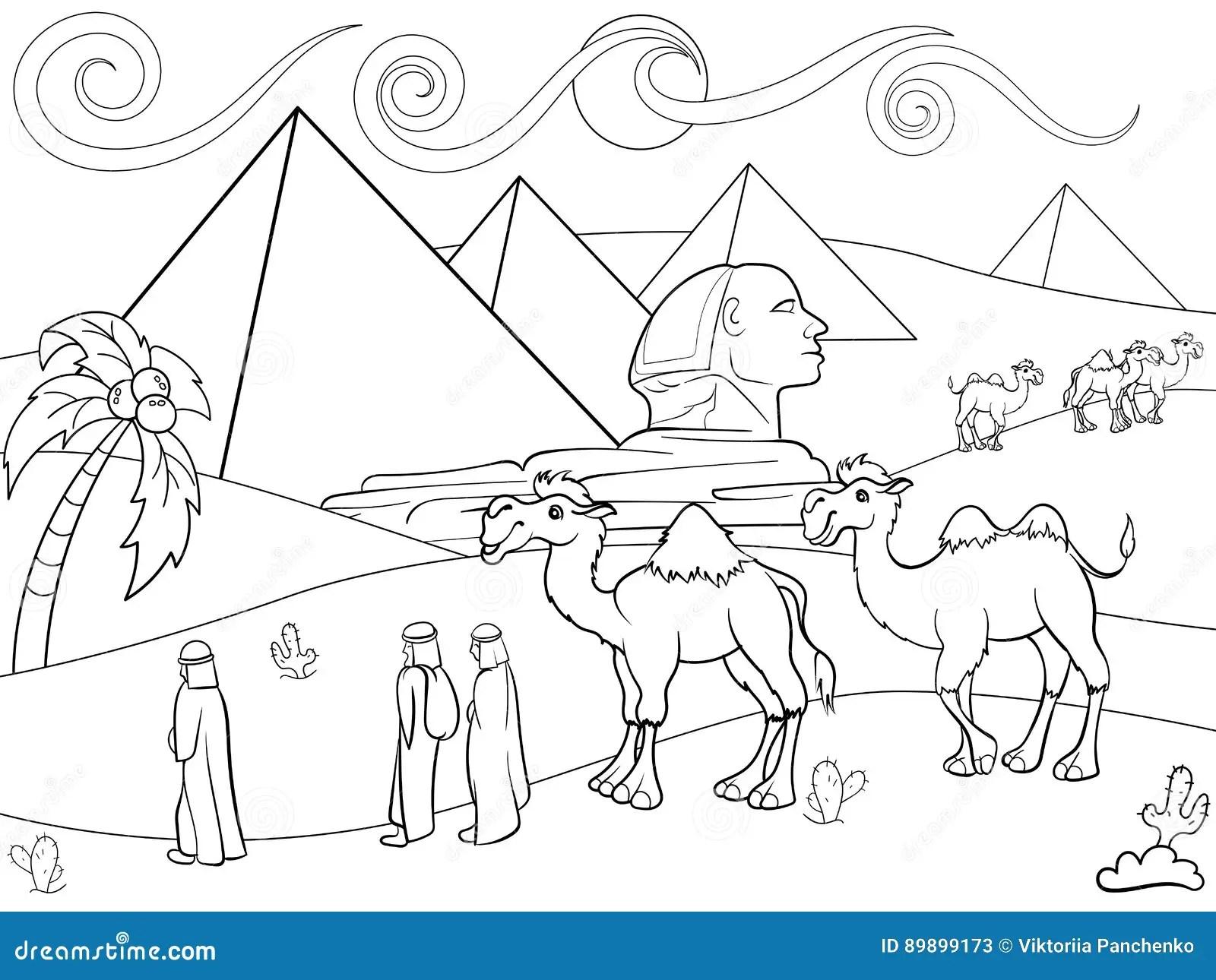 Enfants Colorant Le Paysage De Vecteur De L Egypte Avec