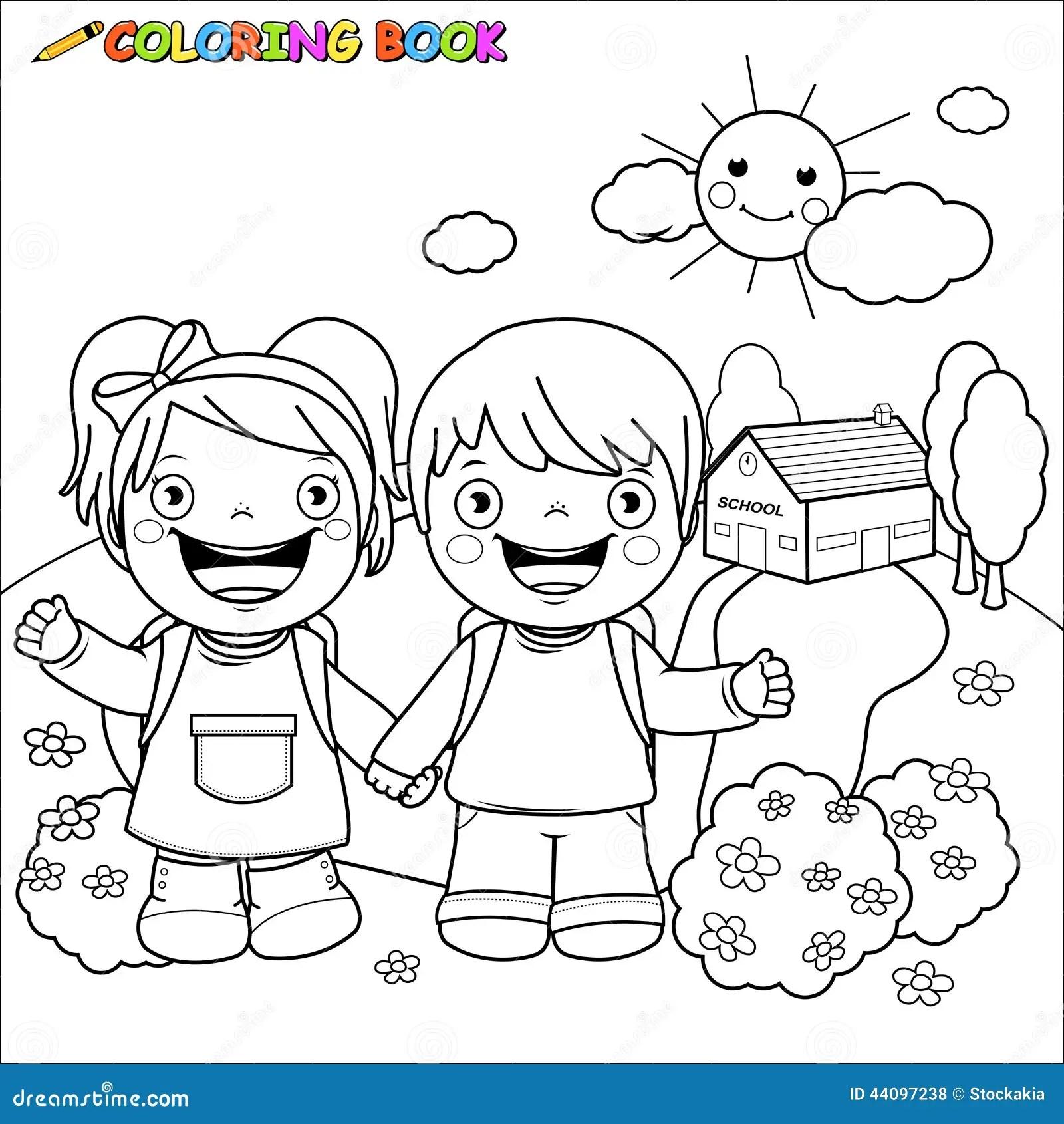 Enfants De Livre De Coloriage A L Ecole Illustration De