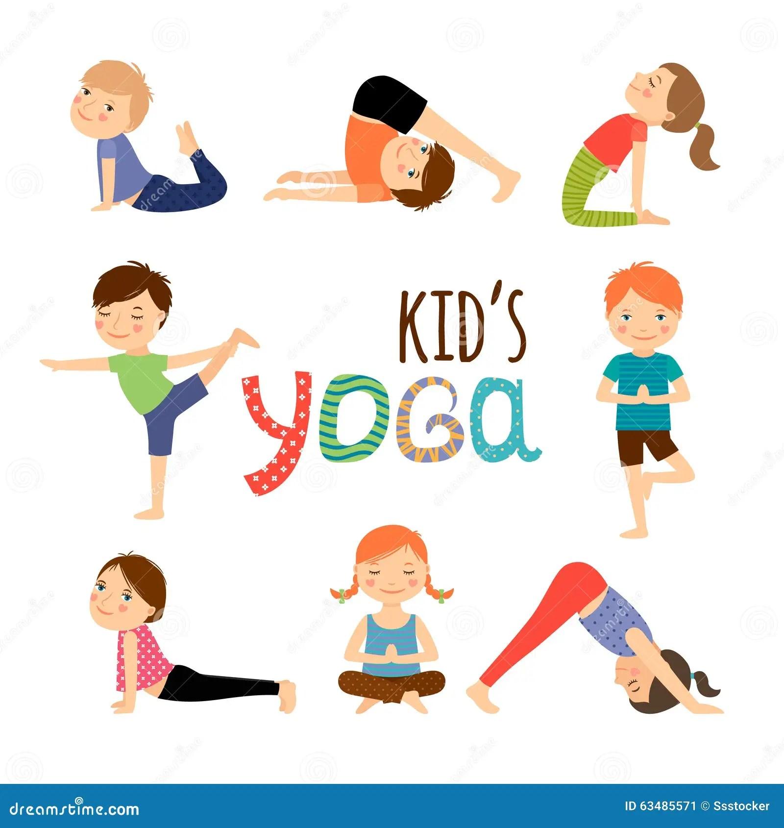 Enfants De Yoga Regles Illustration De Vecteur