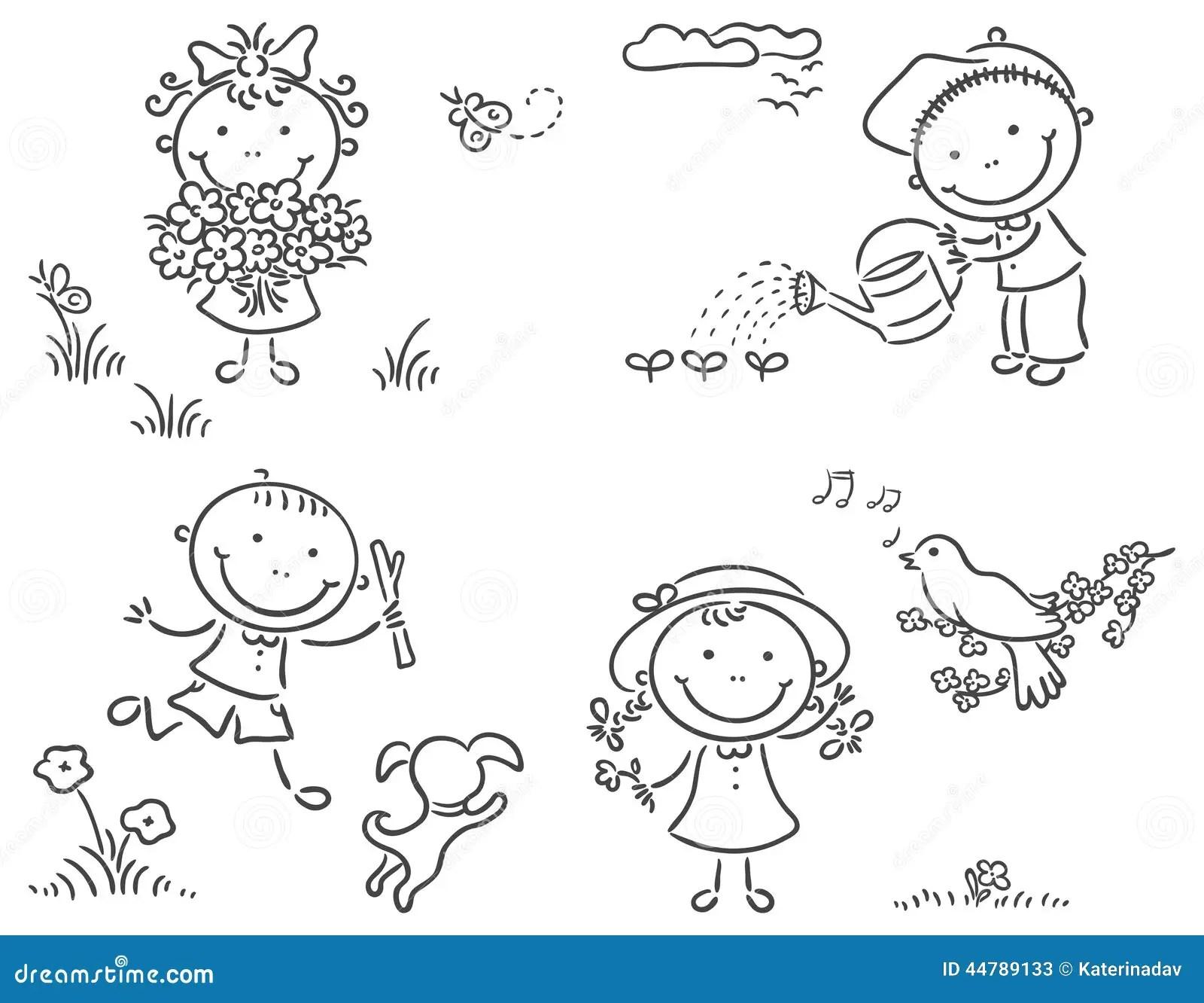 Enfants Dehors Au Printemps Illustration De Vecteur