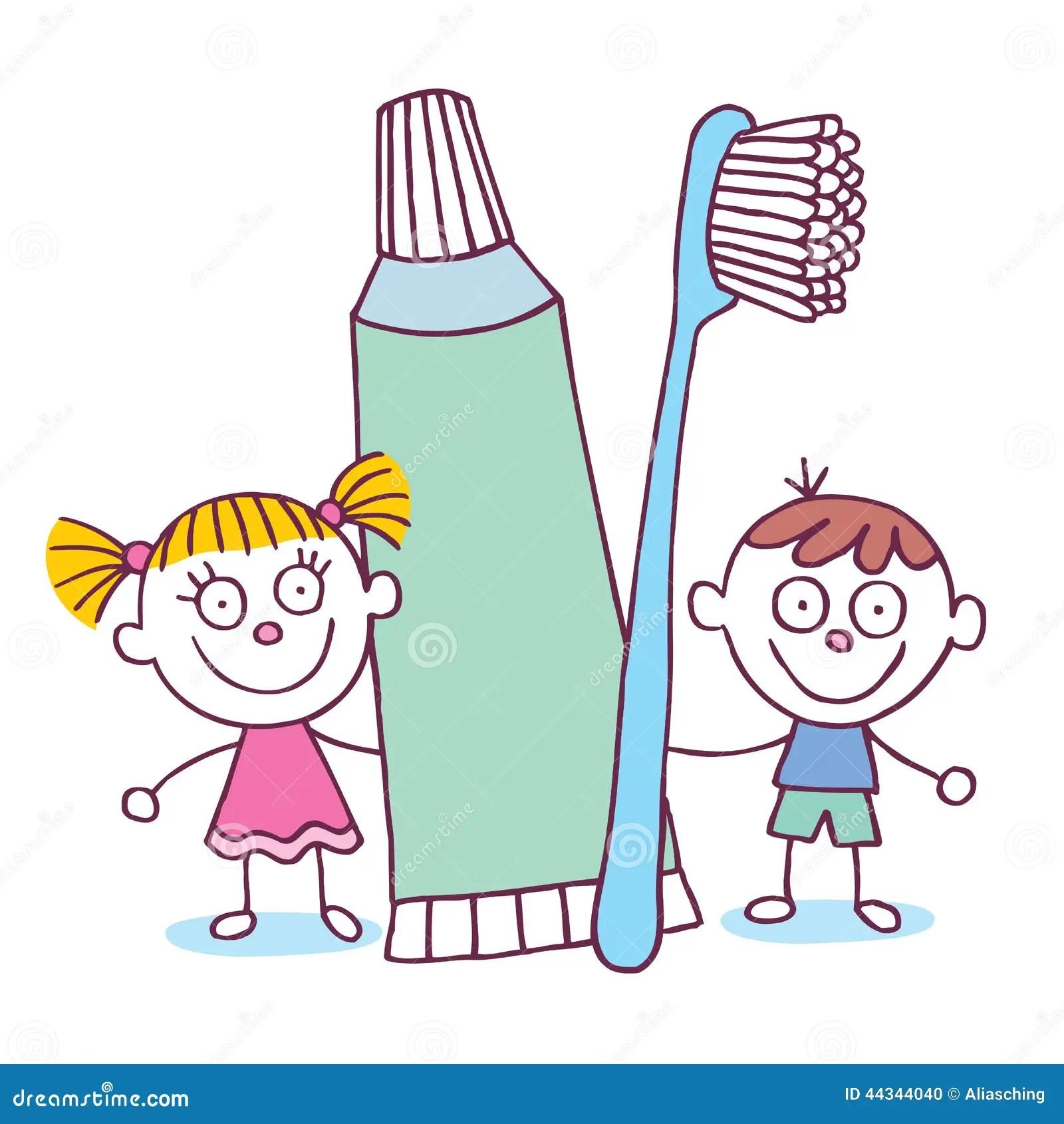 Enfants Dentaires D Hygiene Avec La Brosse A Dents Et La