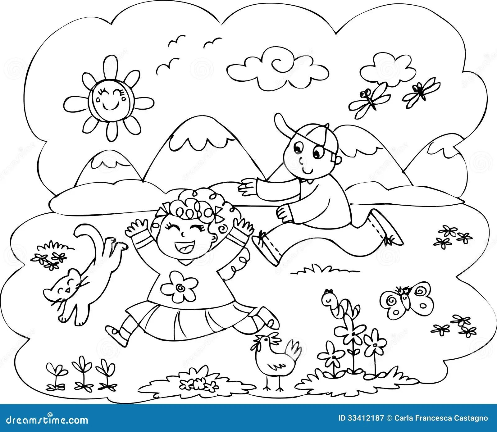 Enfants Jouant Dans La Campagne Illustration de Vecteur