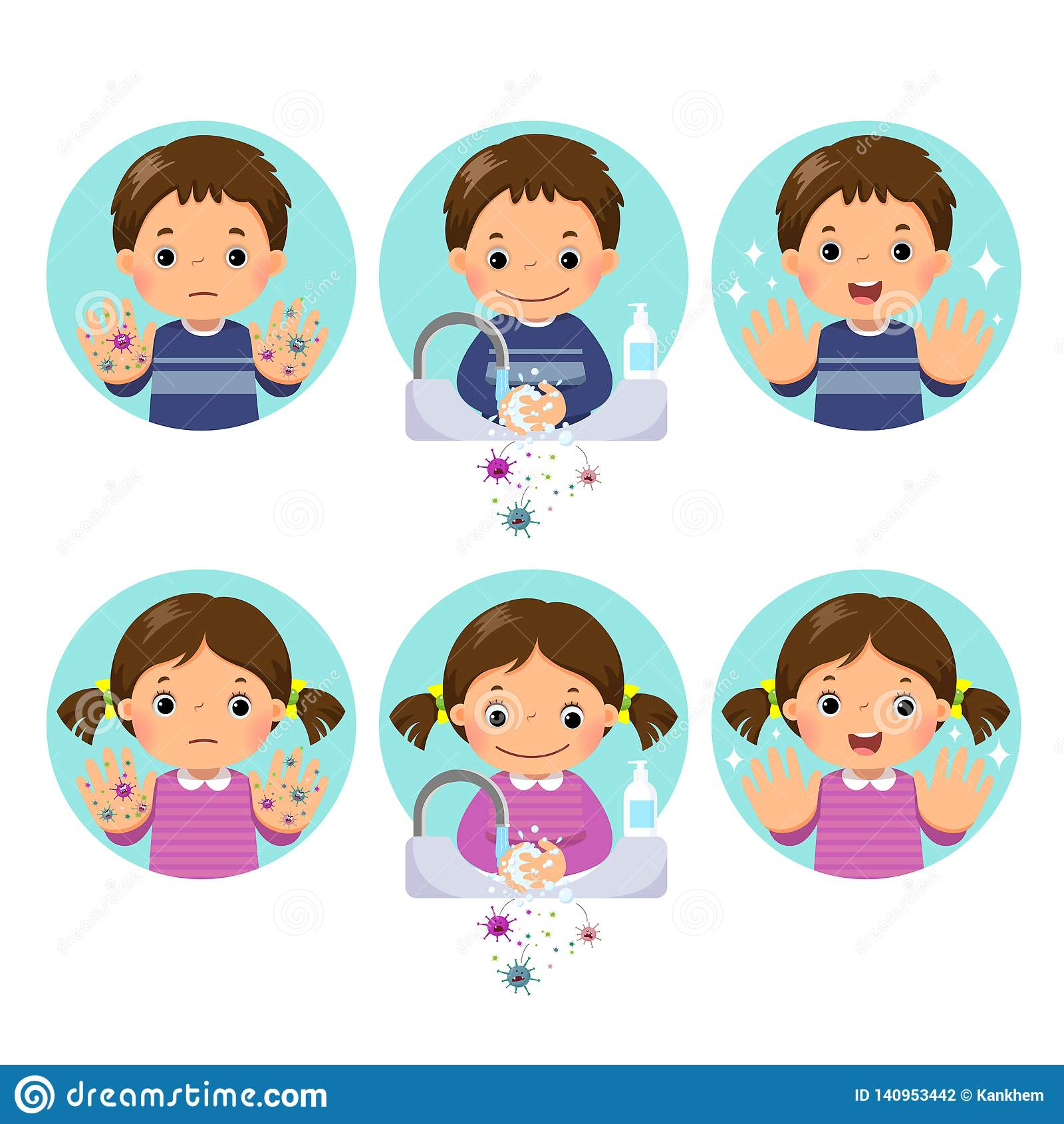 Enfants Lavant Et Nettoyant Des Mains Avec Du Savon De