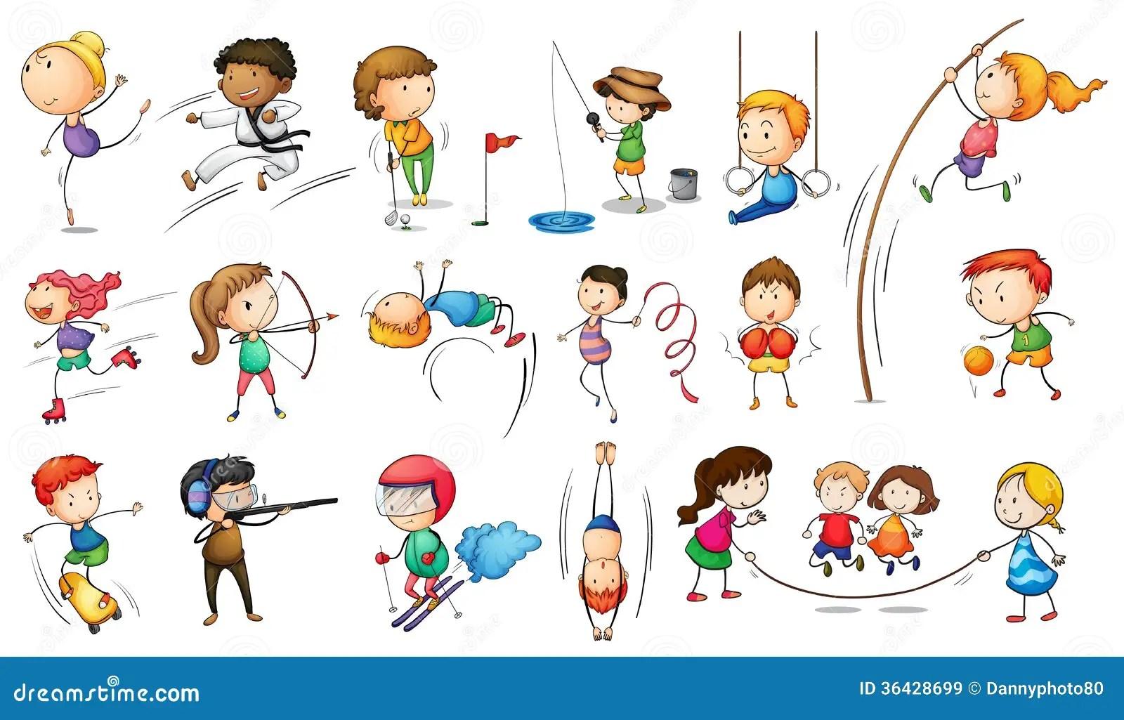 Enfants S Engageant Dans Differents Sports Illustration