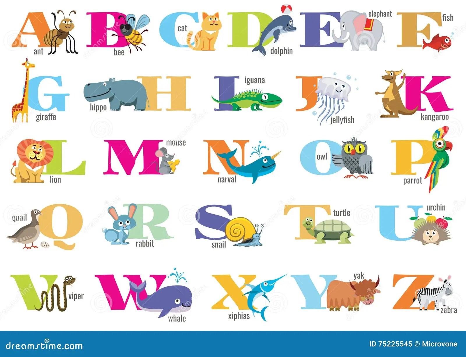 Engels Alfabet Voor Kinderen Met Leukeren Vector