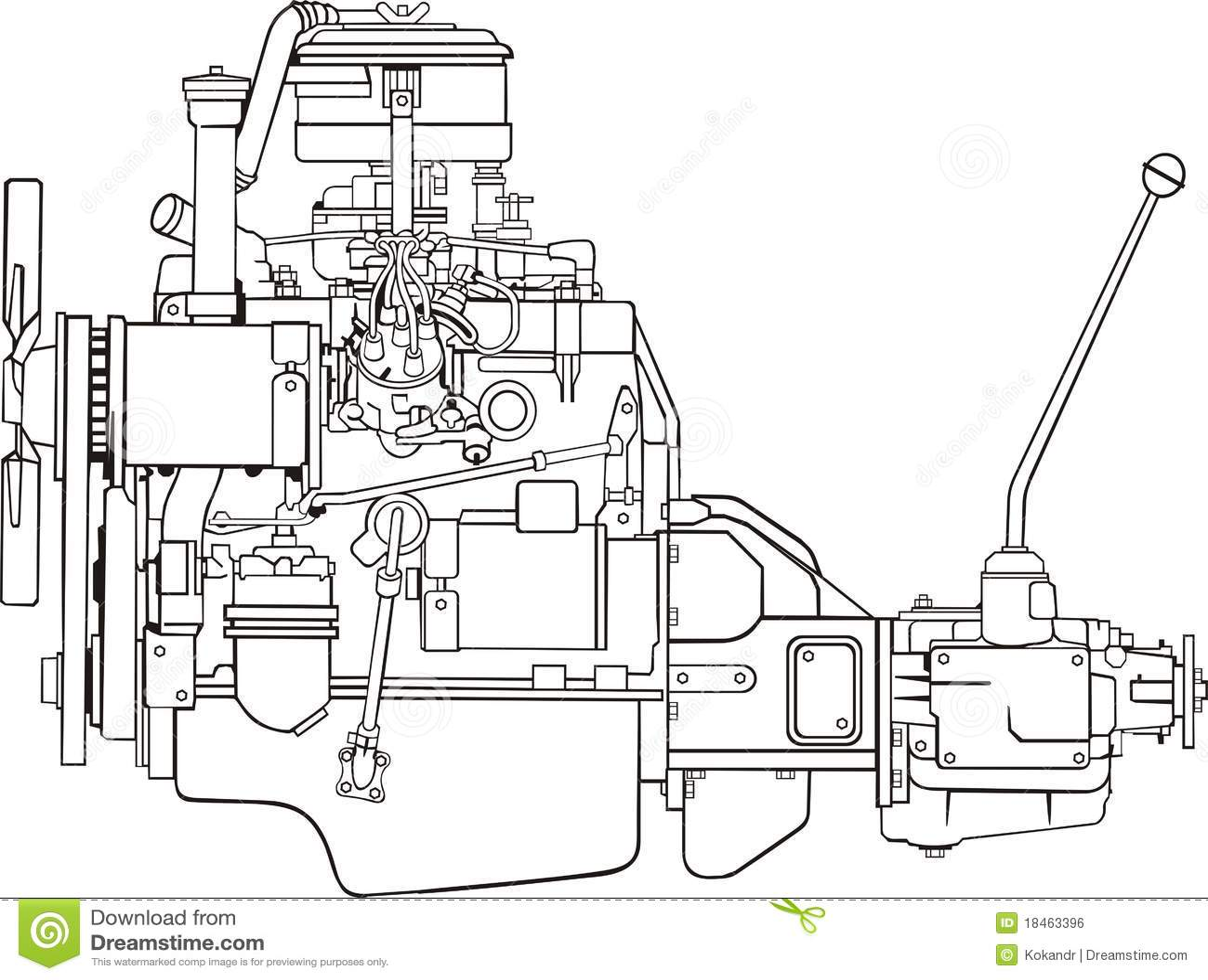 Engine contour stock vector. Illustration of gear, motor