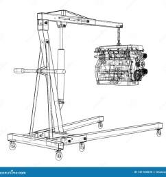 engine hoist with engine outline stock vector illustration of engine hoist diagram [ 1600 x 1591 Pixel ]