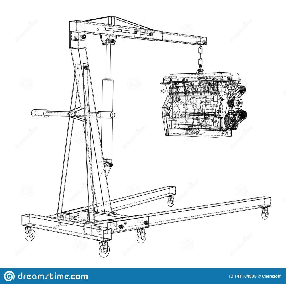 medium resolution of engine hoist with engine outline stock vector illustration of engine hoist diagram