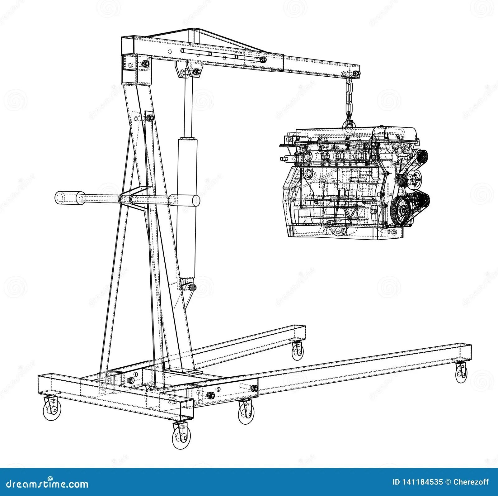 hight resolution of engine hoist with engine outline stock vector illustration of engine hoist diagram