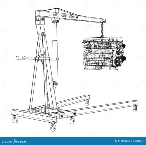small resolution of engine hoist with engine outline stock vector illustration of engine hoist diagram