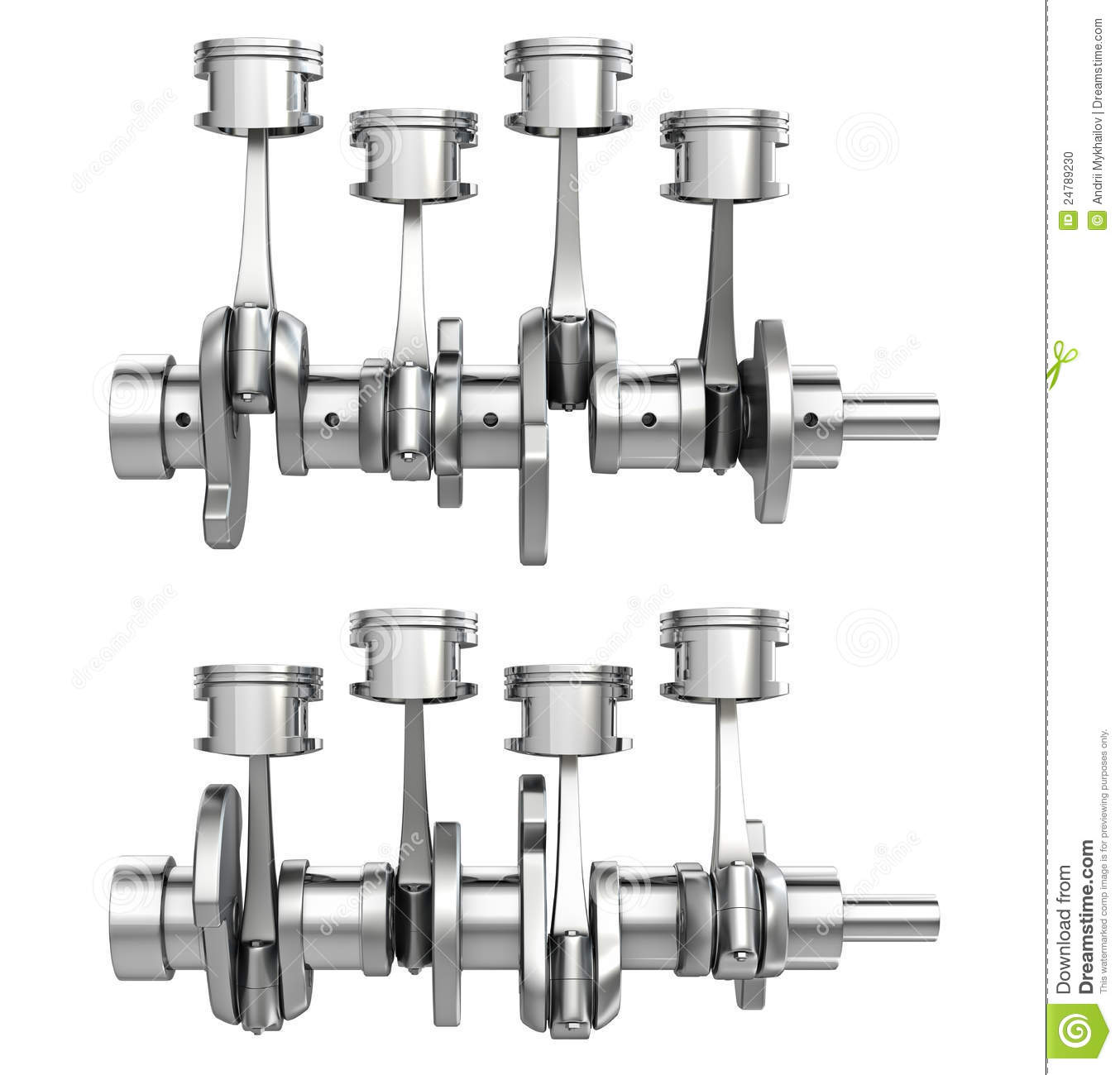 Engine Pistons On A Crankshaft Two Positions Stock Photo