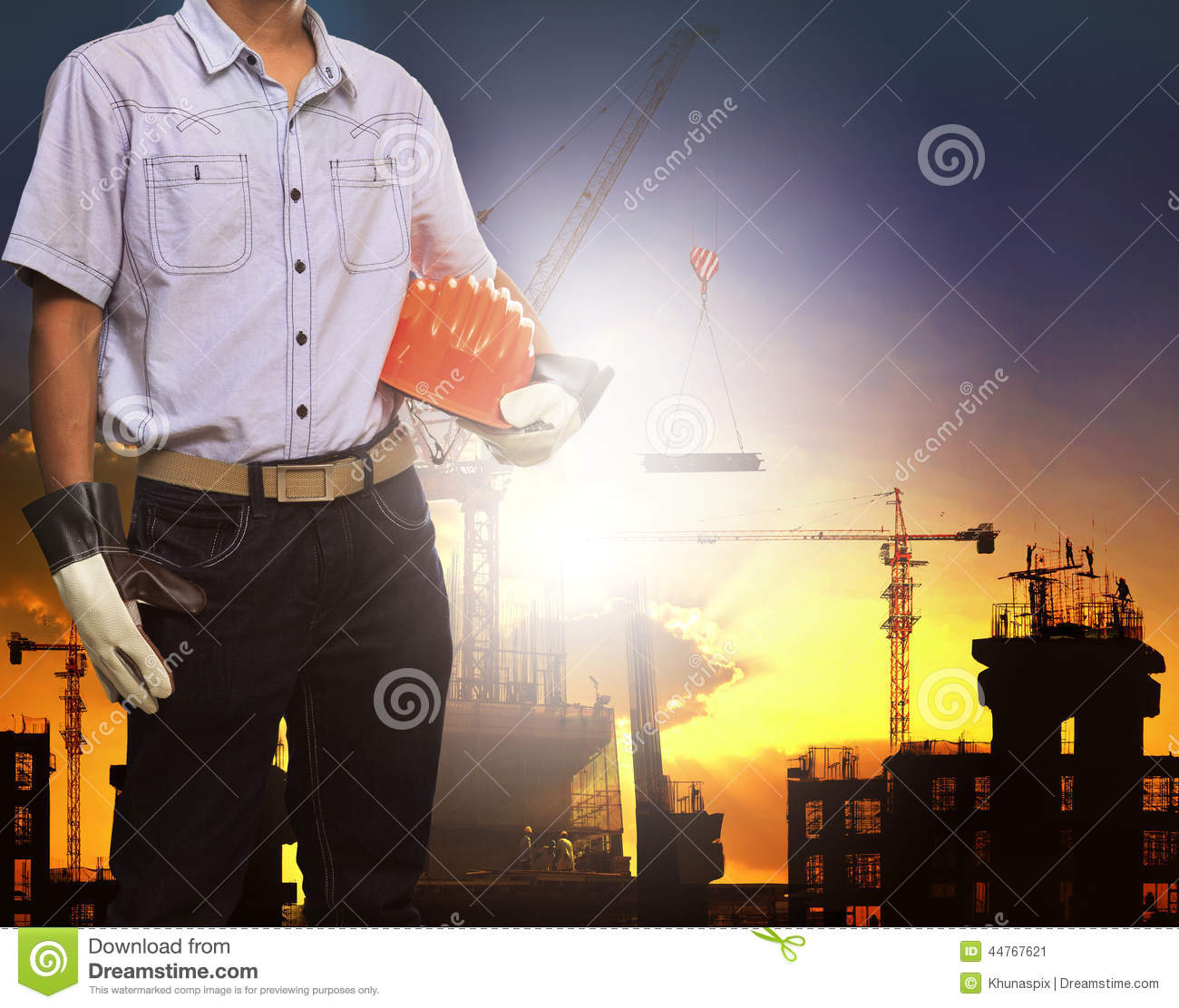 Engineer Man Working With White Safety Helmet Against