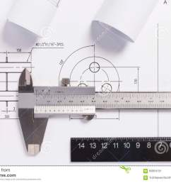 engineering drawings metal detail and vernier caliper  [ 1300 x 957 Pixel ]