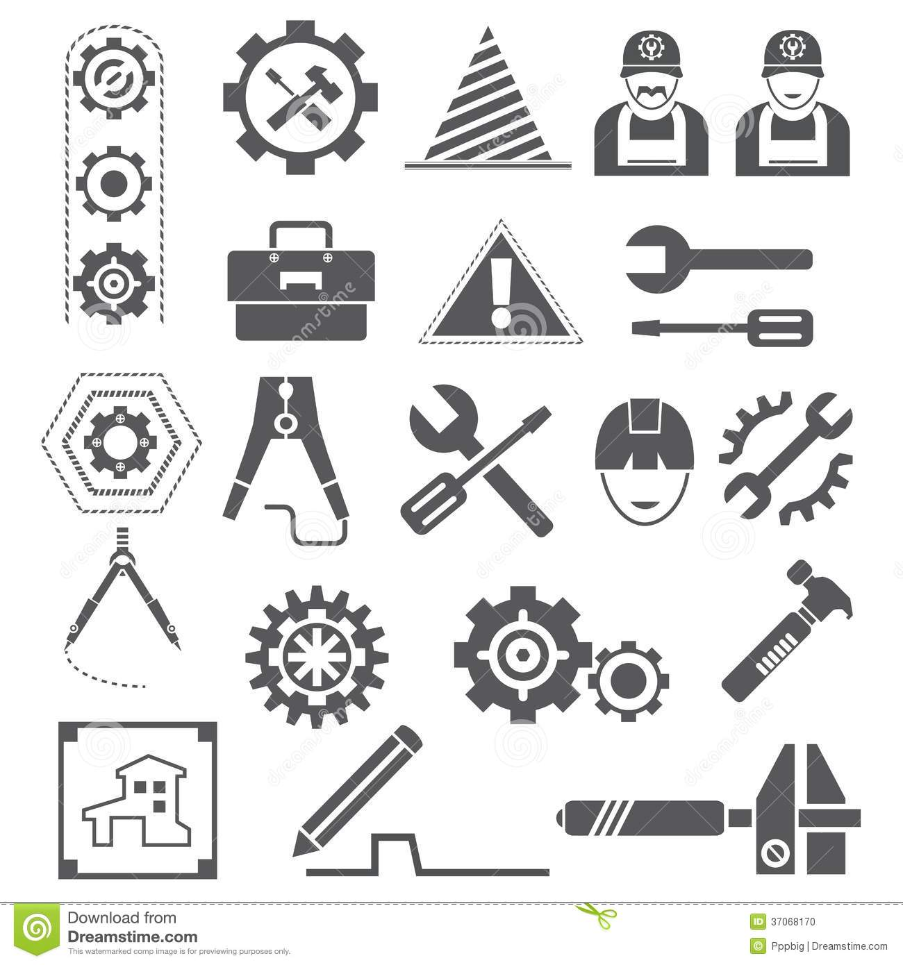 Engineering Icons Gears Tools Stock Photo