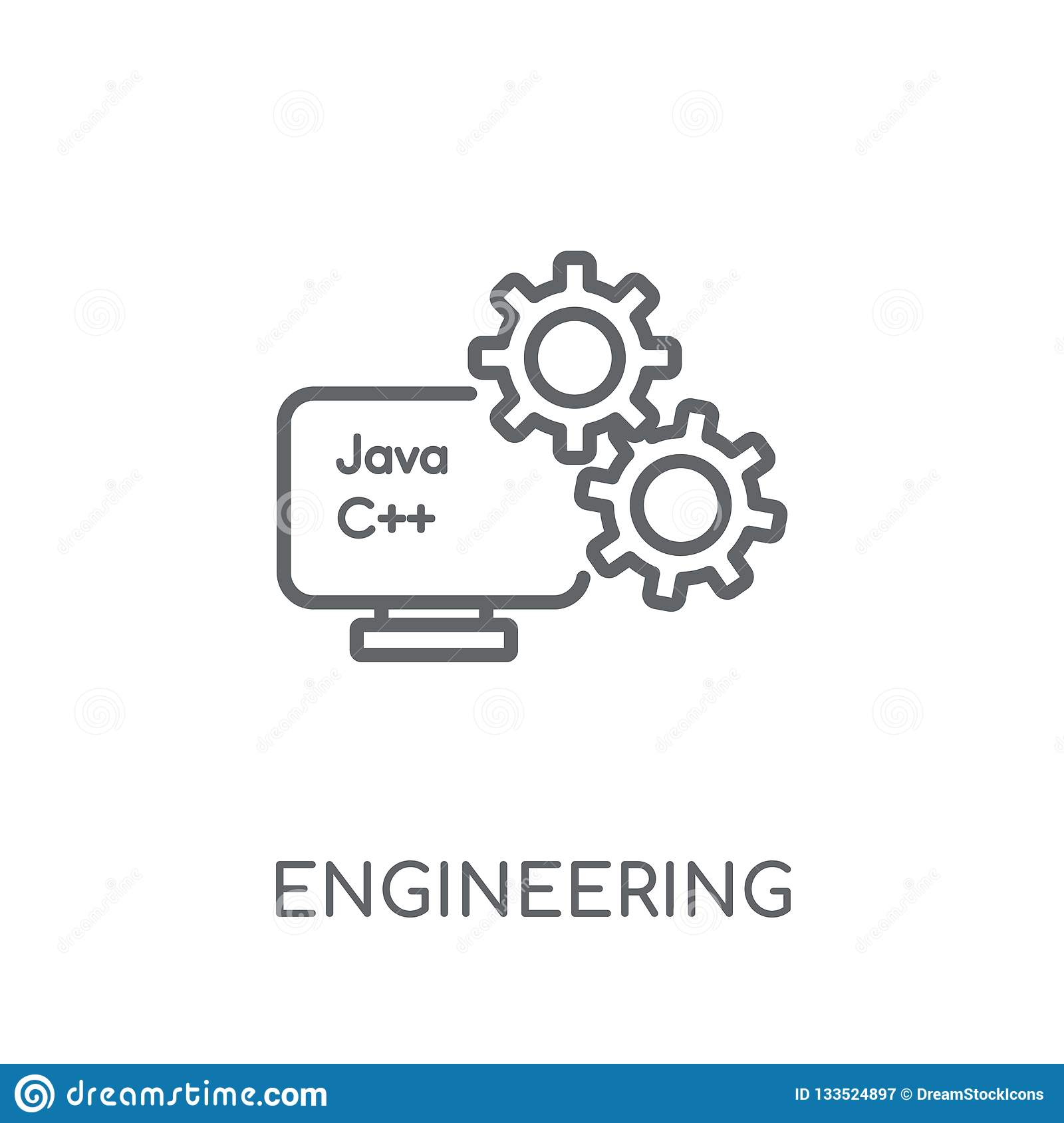 hight resolution of engineering linear icon modern outline engineering logo concept