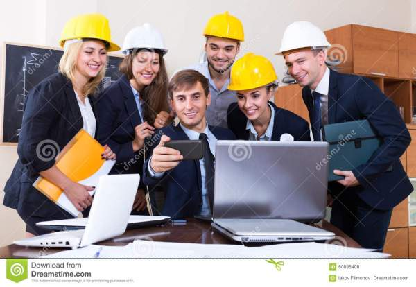 Professional Engineers Workign Royalty-free Stock