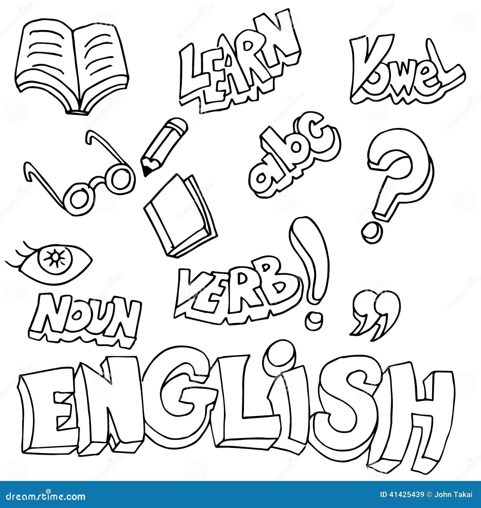 Englische Symbole Und Lernen-Einzelteile Vektor Abbildung