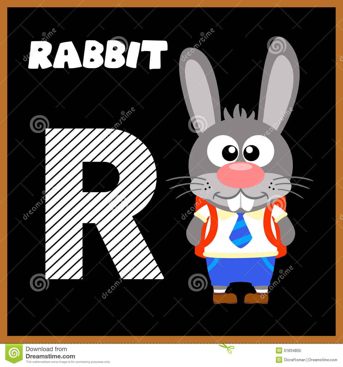 The English Letter R And A Rabbit Cartoon Vector