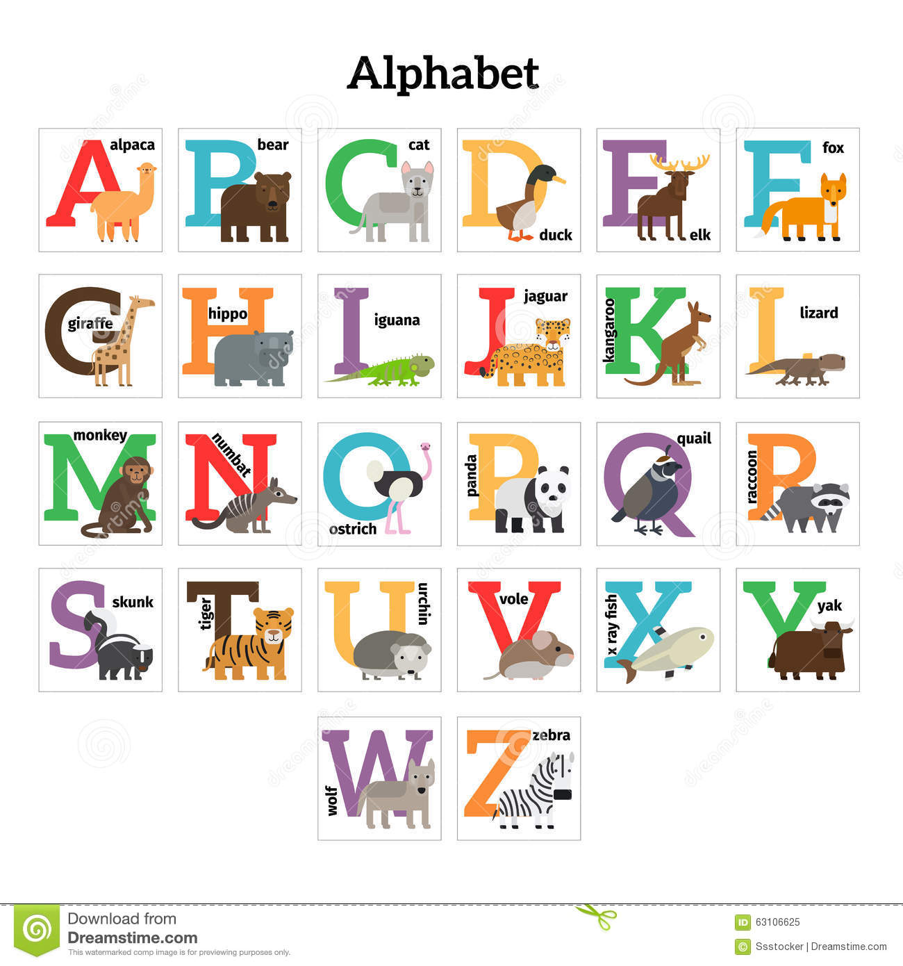 English Animals Zoo Alphabet Stock Vector