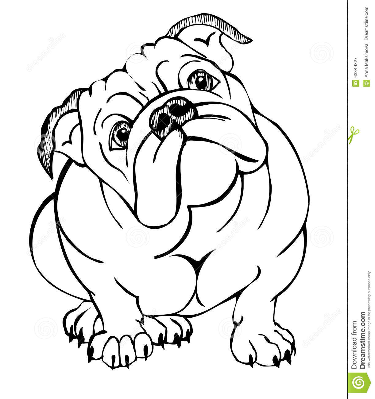Cartoon Bulldog Sitting Vector Illustration