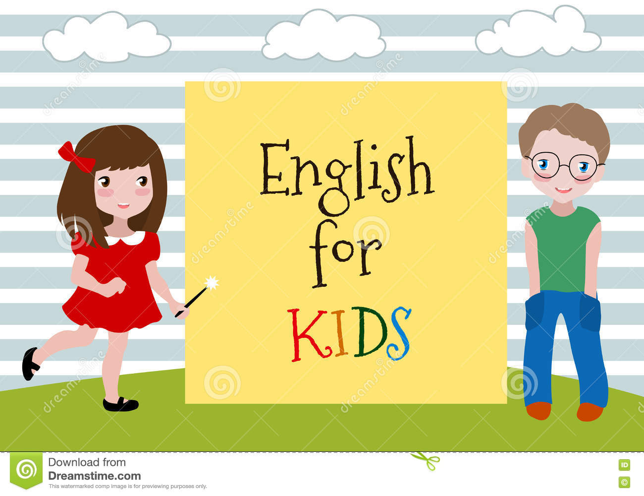 English For Kids Vector Illustration Of The Two Kids