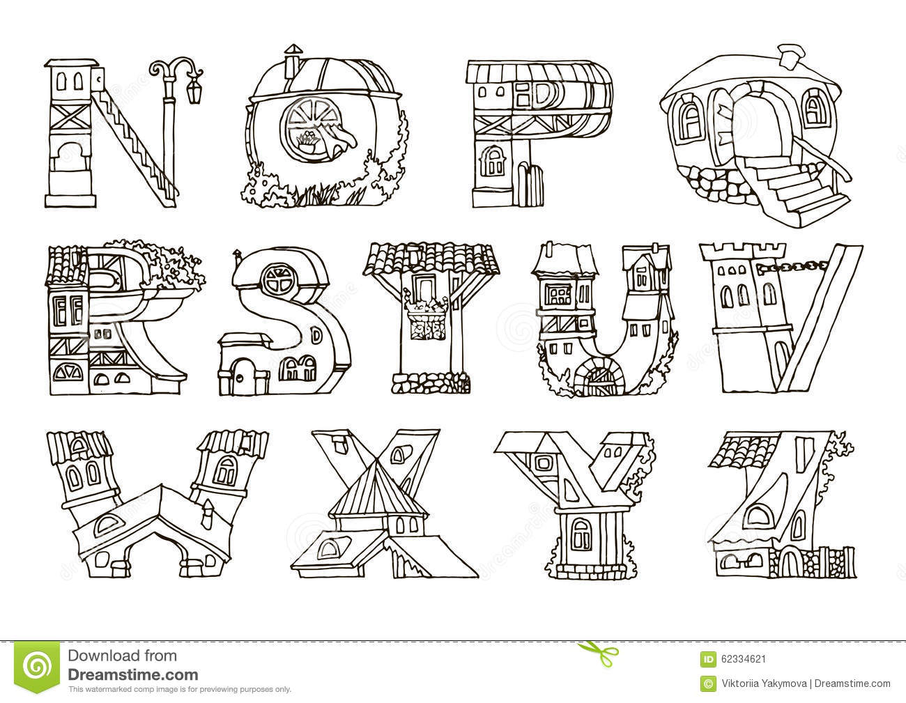 English Language Alphabet, Letters In Houses Shape.Hand
