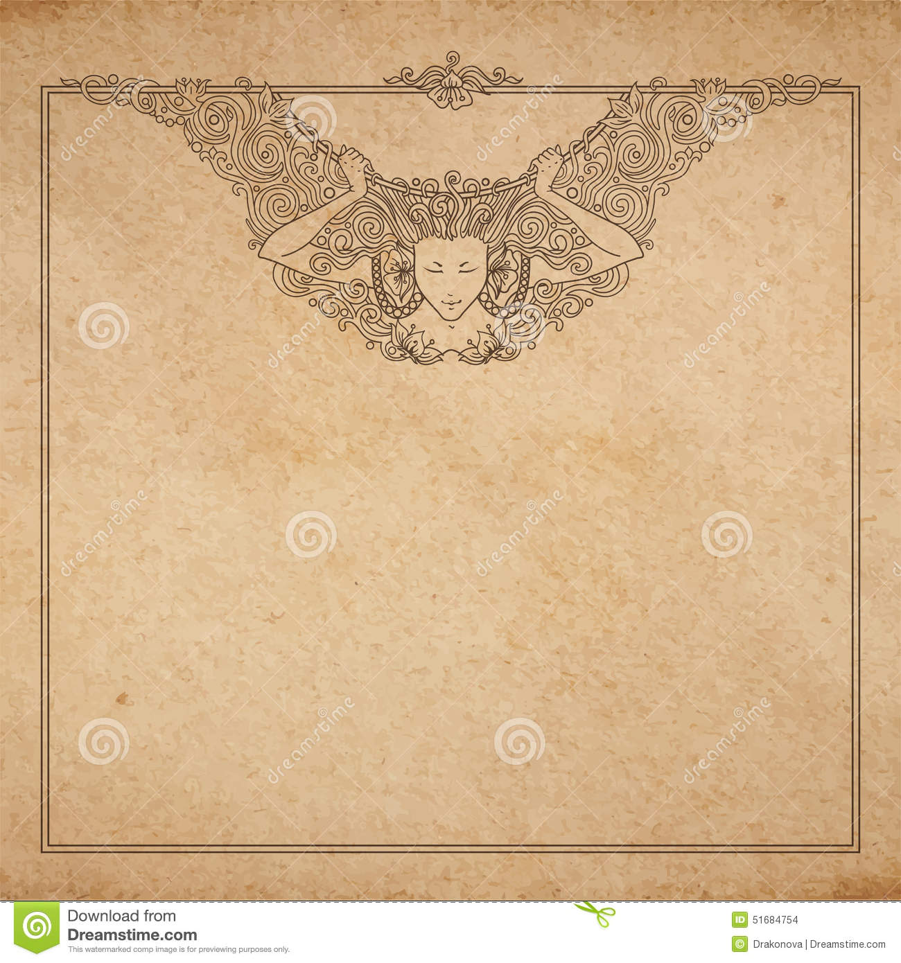 Engraved Angel Woman Frame Stock Vector Image 51684754
