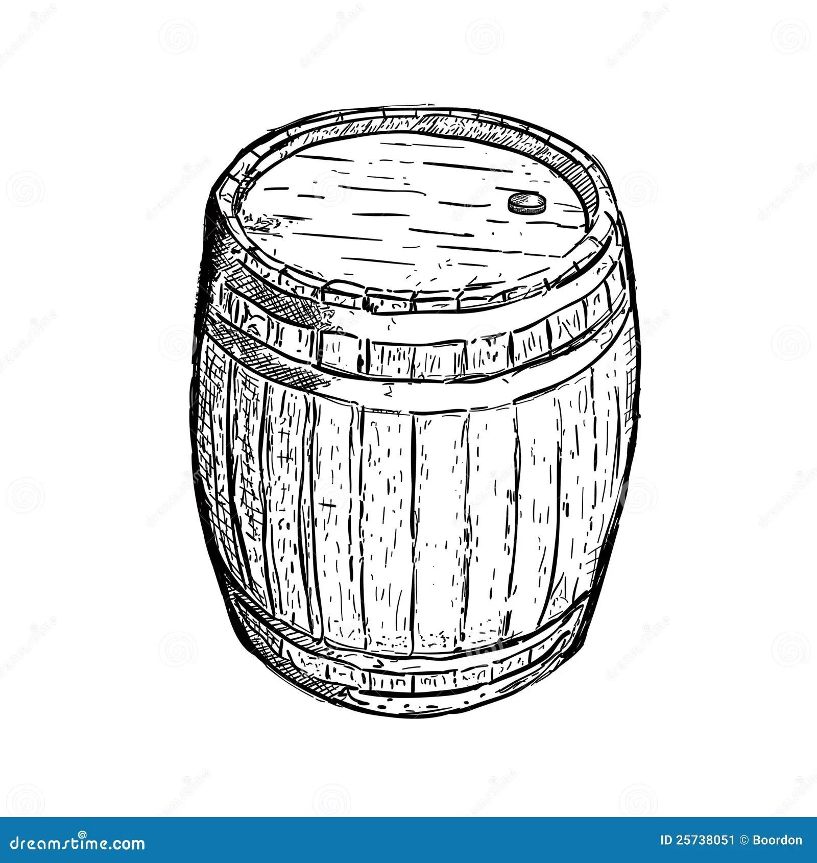 Engraving Barrel Beer Wine Stock Vector Illustration Of