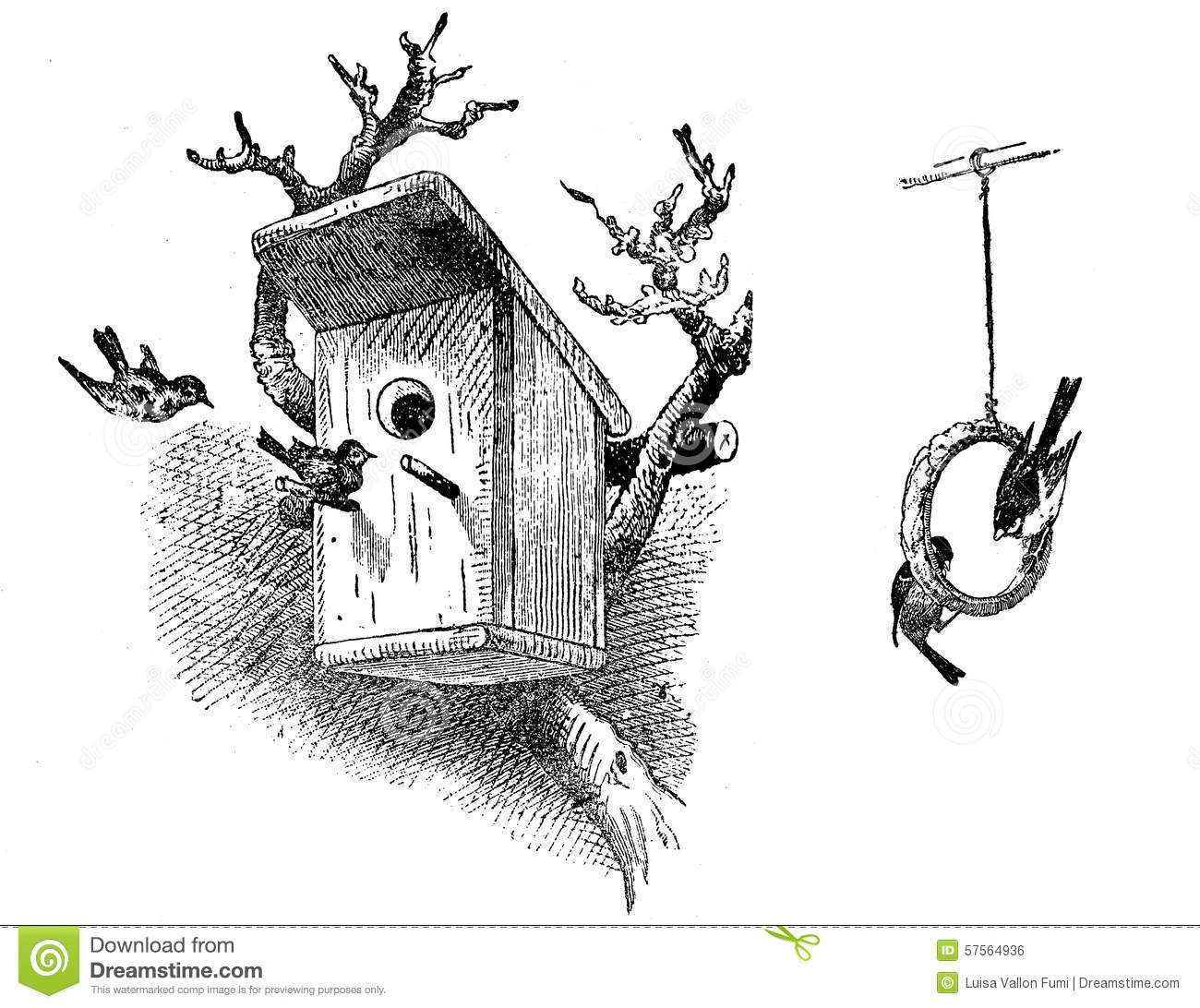 Engraving Of Bird House And Food Ring Stock Illustration