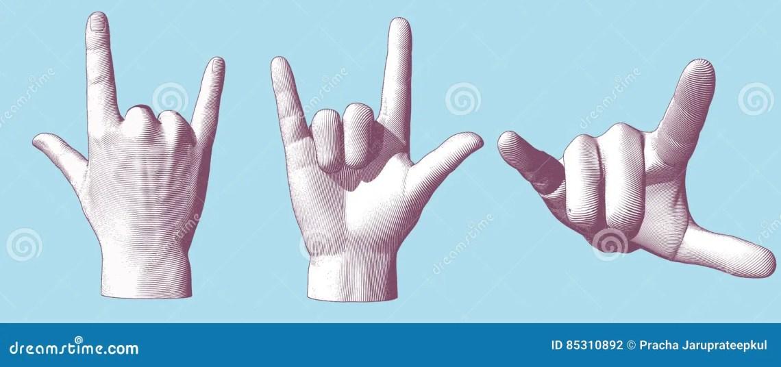 Download Engraving Hand Gesture I Love You Illustration Stock ...
