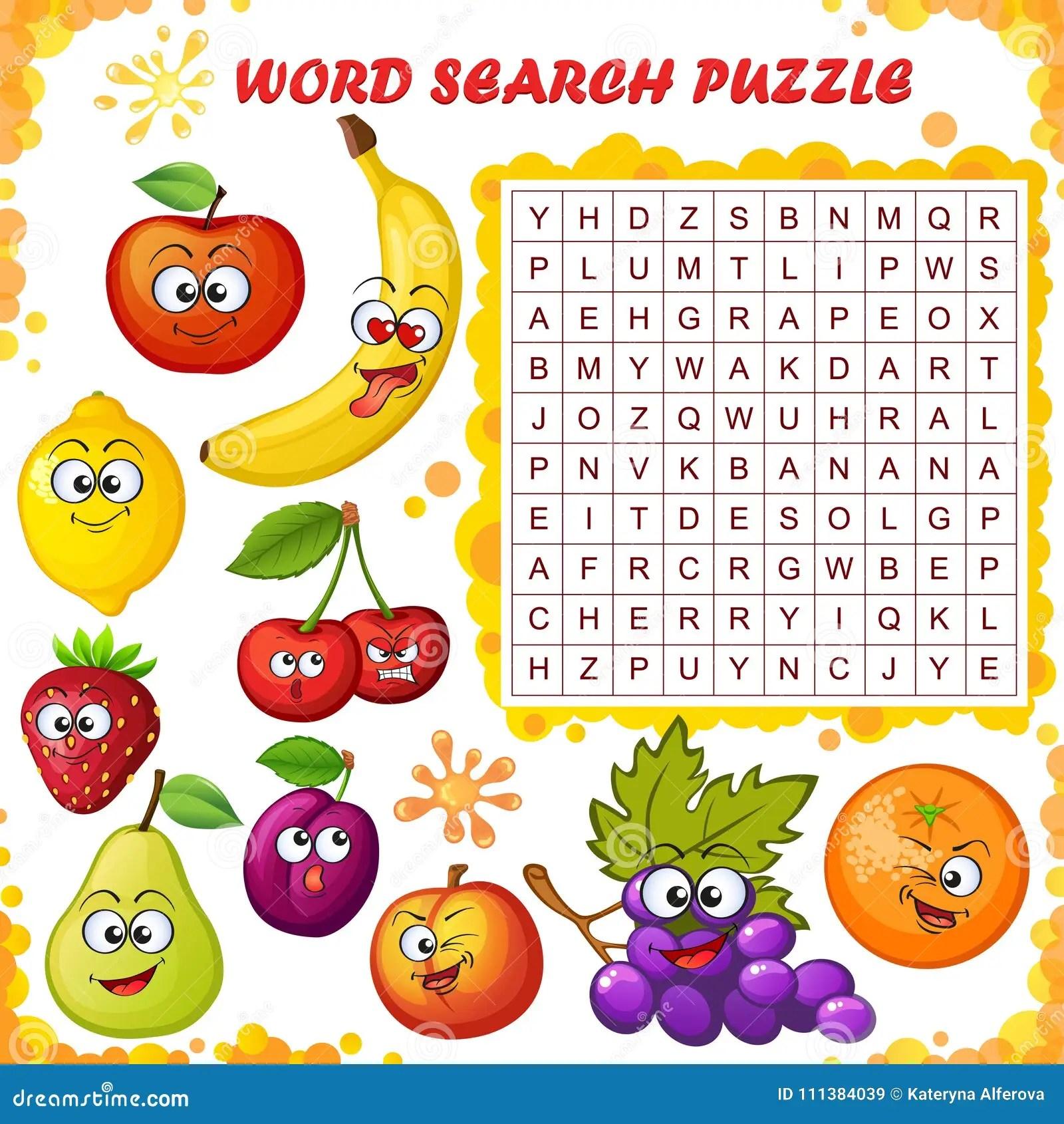 Enigma Da Busca Da Palavra Jogo Da Educacao Do Vetor Para Criancas Os Desenhos Animados